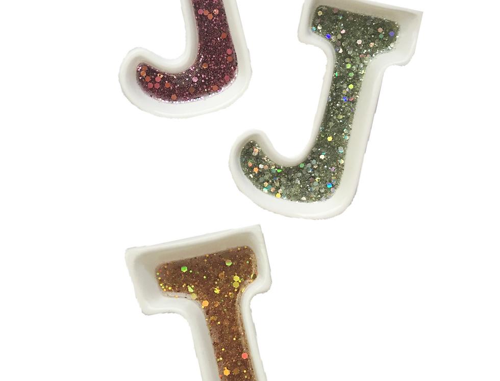 J Letter Glittered Jewelry Holder