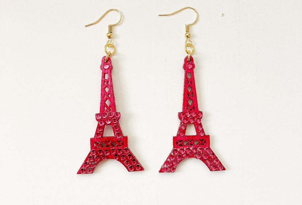 Eiffel Tower 18K Gold-Plated Crystal-Embellished Statement Earrings