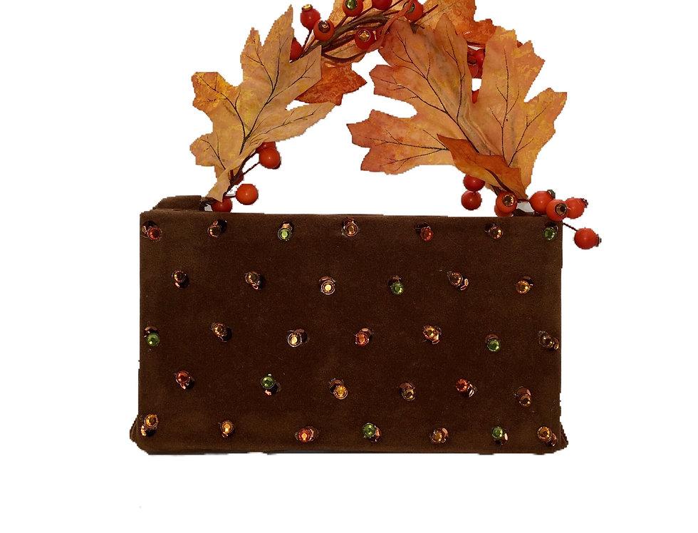 Rustic Memory Embellished Faux-Suede Mini Bag