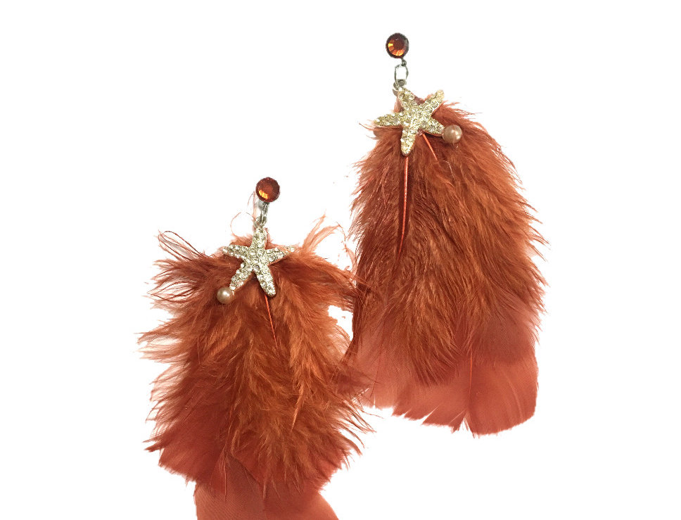 Washed Ashore Crystal-Embellished Feather Statement Earrings