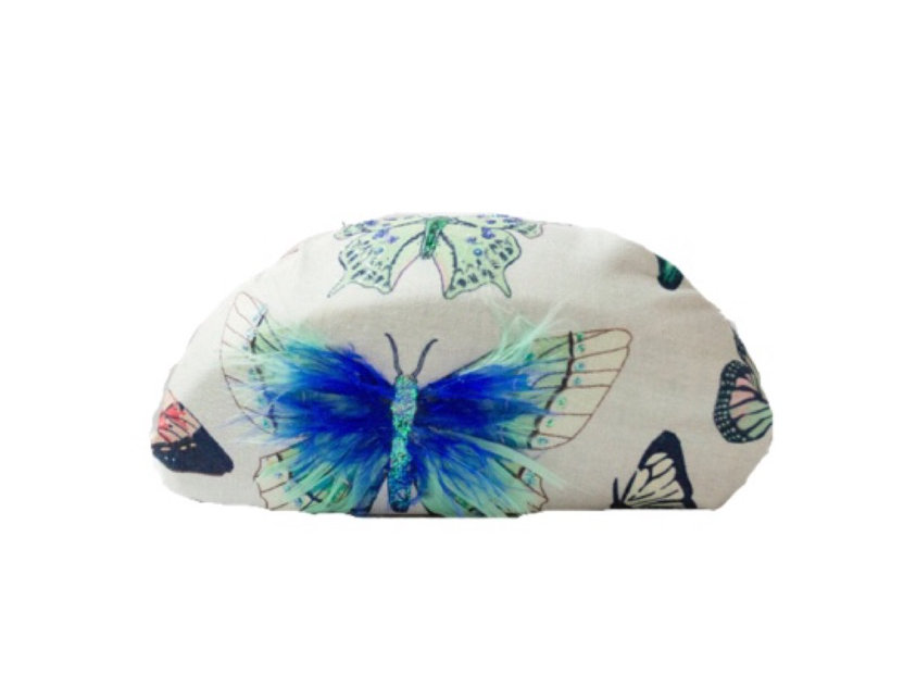 Butterfly By Day Gittered Feather-Embellished Clutch
