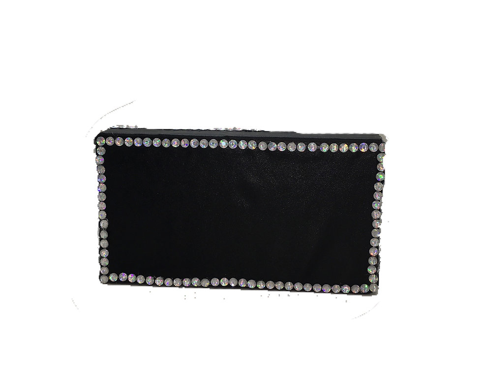 Diamond In The Night Crystal-Embellished Faux-Leather Box Clutch