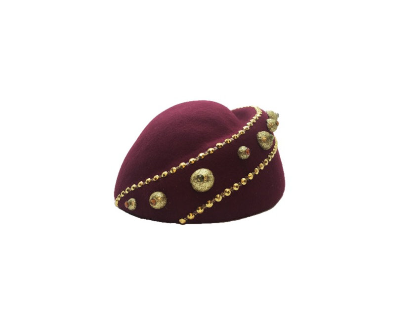 Royalty Reigns Studded Asymmetric Wool Hat