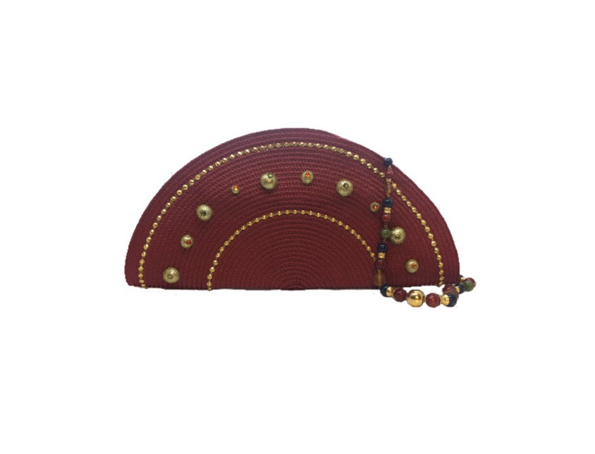 Royalty Reigns Studded Woven Clamshell Mini Bag