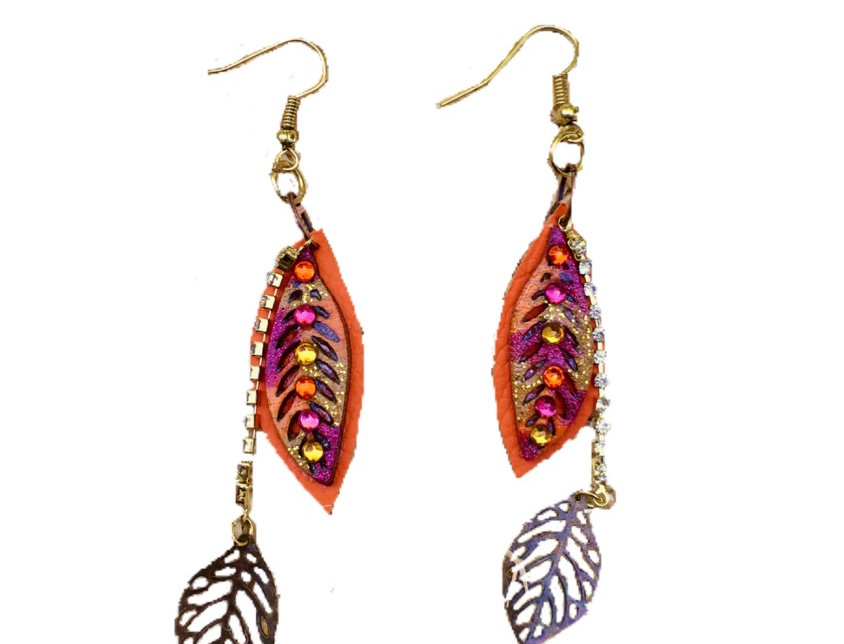 Fall Foliage Leather Crystal-Embellished Dangle Earrings