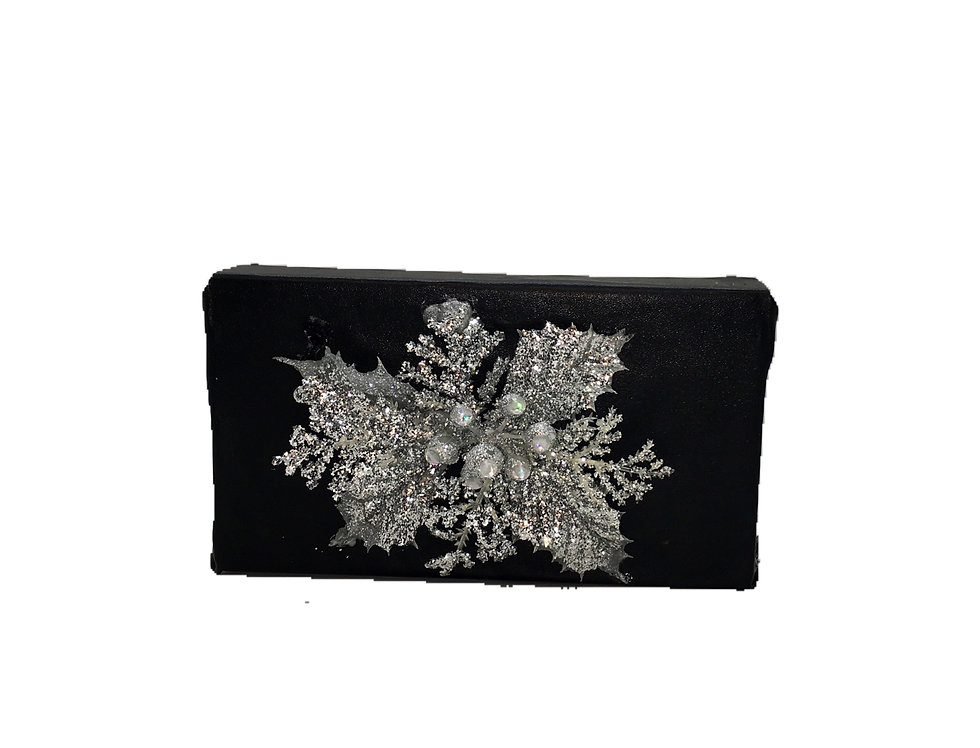 Sparkle In The Dark Embellished Faux-Leather Box Clutch