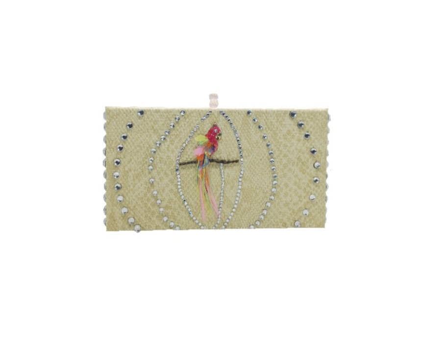 Caged Bird Sings Embellished Snake-Effect Box Clutch