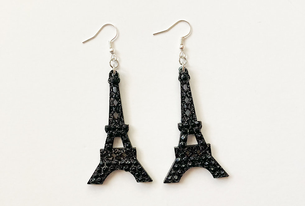 Eiffel Tower Sterling Silver Crystal-Embellished Statement Earrings