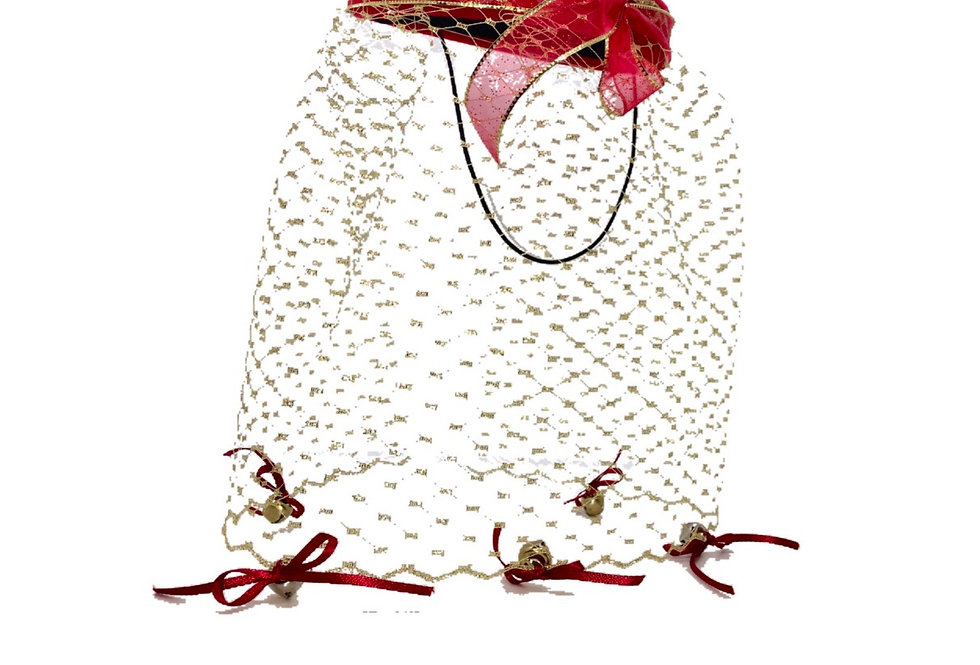 Jingle Bell Ribbon-Trimmed Netted Wool Fascinator