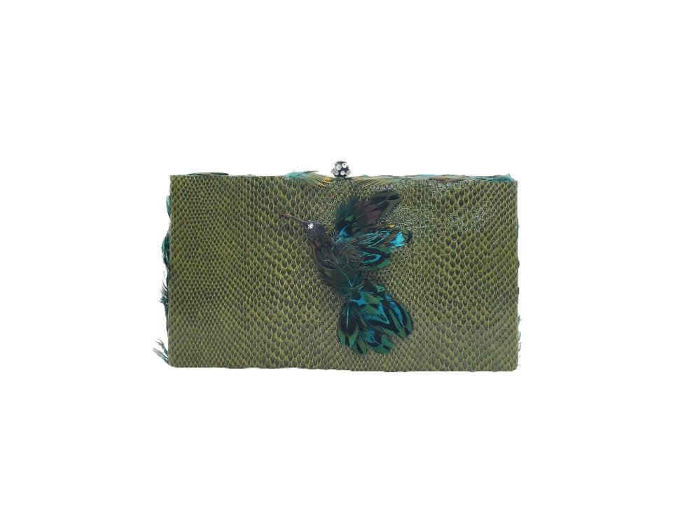 Humming Bird Feather-Embellished Snake-Effect Faux-Leather Box Clutch