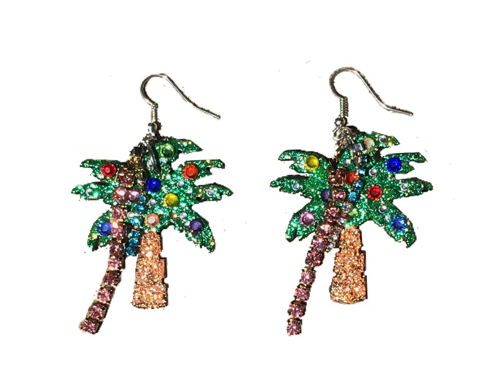 Palm Tree Party Crystal-Embellished Statement Earrings