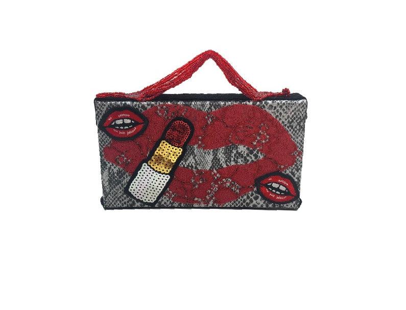 Kiss Me Embellished Patch-Appliquéd Snake-Effect Mini Bag