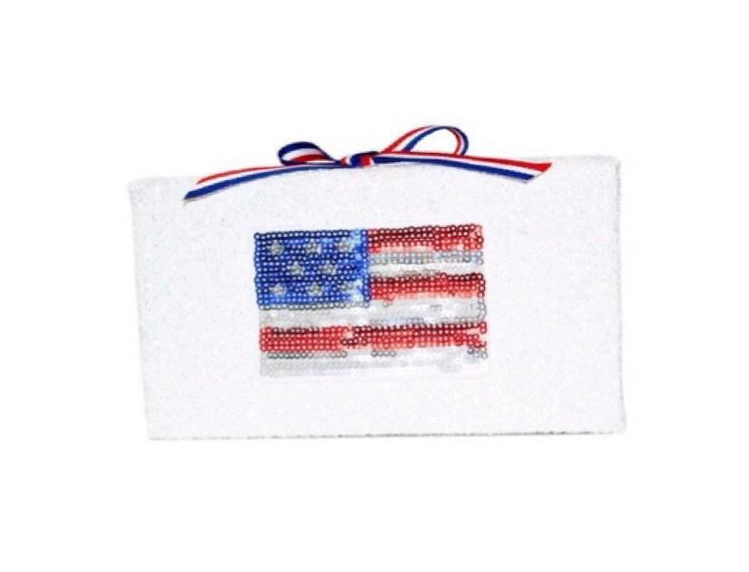 American Flag Ribbon-Trimmed Patch-Appliquéd GlitterBox Clutch