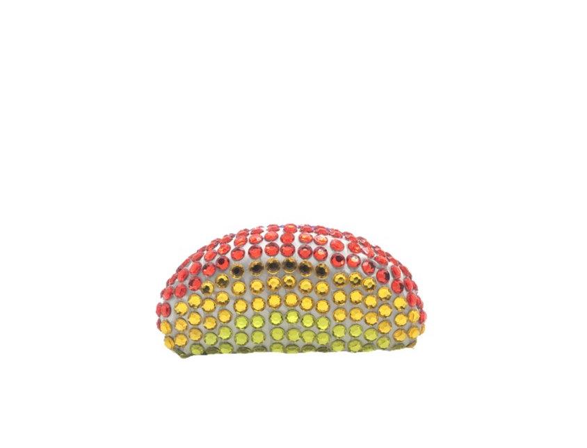 Single Rainbow Crystal-Embellished Duchesse-Satin Clutch