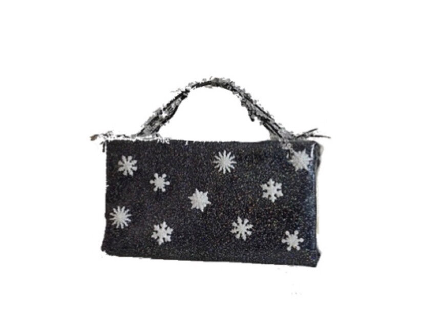 Snow Globe Embellished Glittered Vinyl Mini Bag