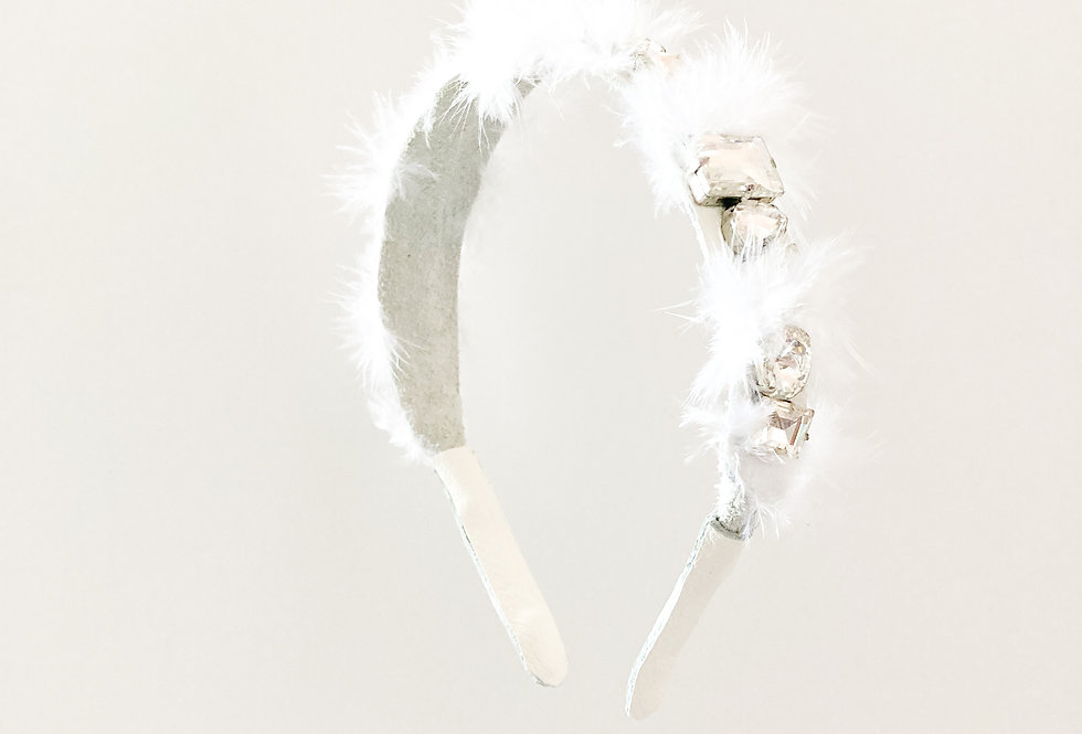 Pure Heart Crystal-Embellished Feathered Leather Bridal Headband