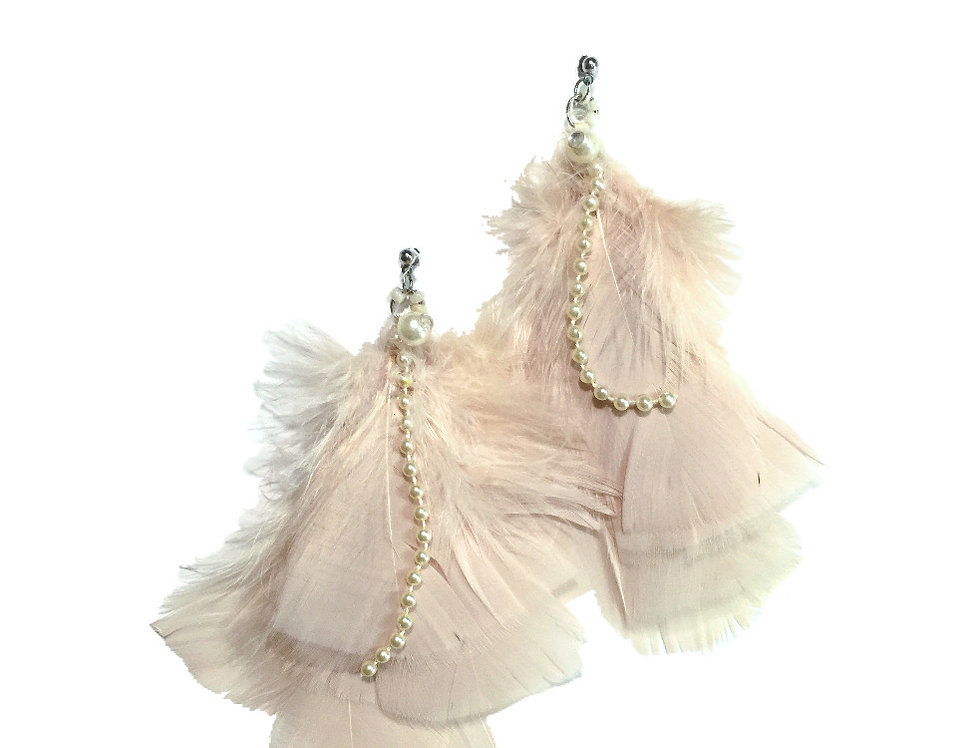 Mother Of Pearl Embellished Feather Statement Earrings
