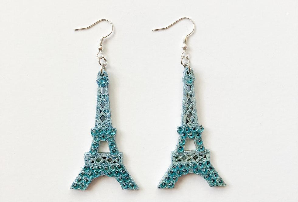 Eiffel Tower Sterling Silver Crystal-Embellished Statement Earrings