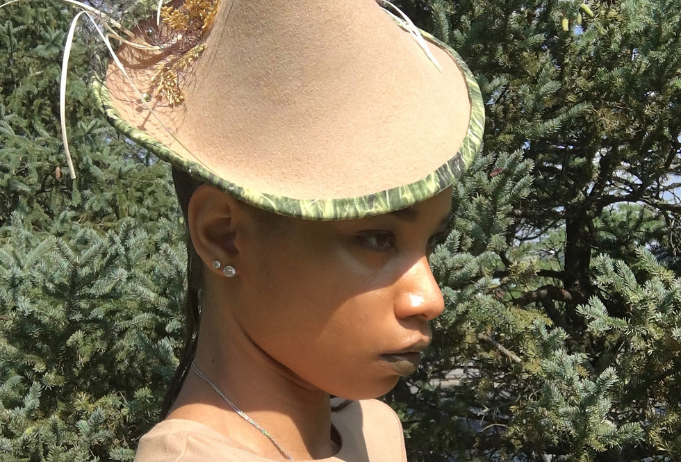 Whole Wheat Embellished Netted Fascinator Hat