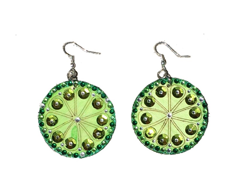 Light Lime Sequined Crystal-Embellished Statement Earrings