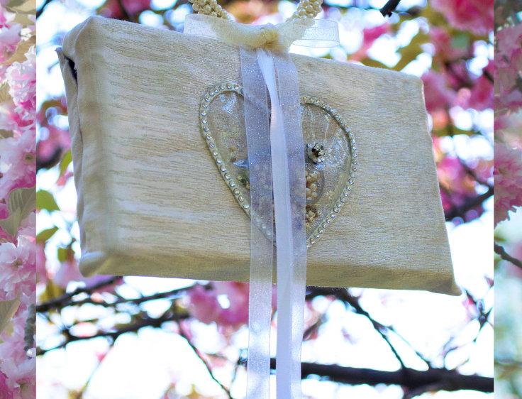 Threefold Cord Sterling Silver Ribbon-Trimmed Embellished Woven Bridal Mini Bag