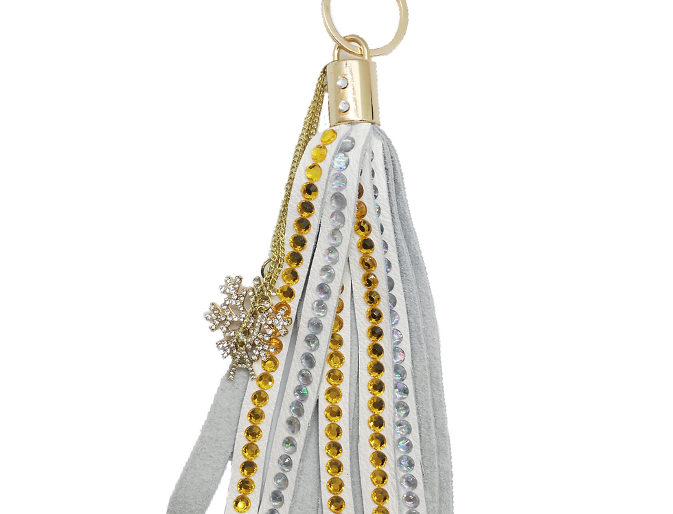Precious Metals Crystal-Embellished Large Leather Tassel Keychain