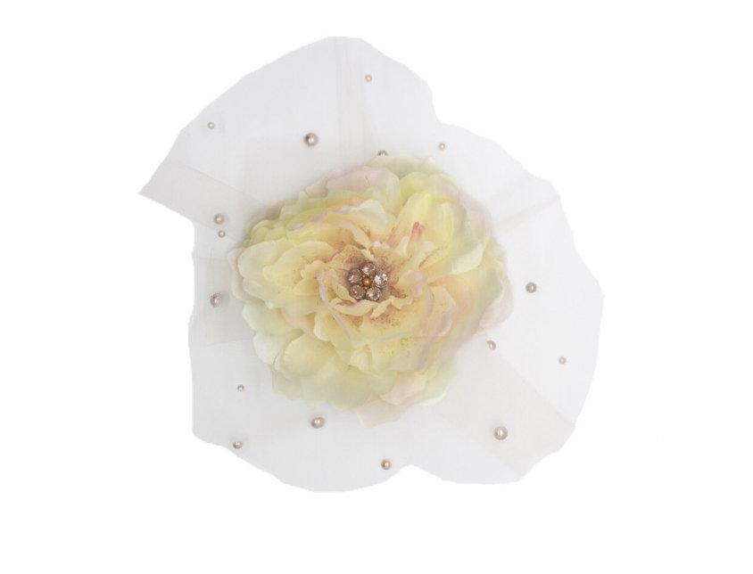 Unconditional Love Embellished Netted Flower Fascinator Clip