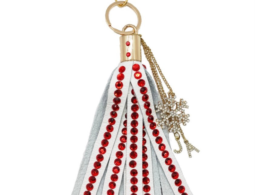 Covered Crystal-Embellished Large Leather Tassel Keychain