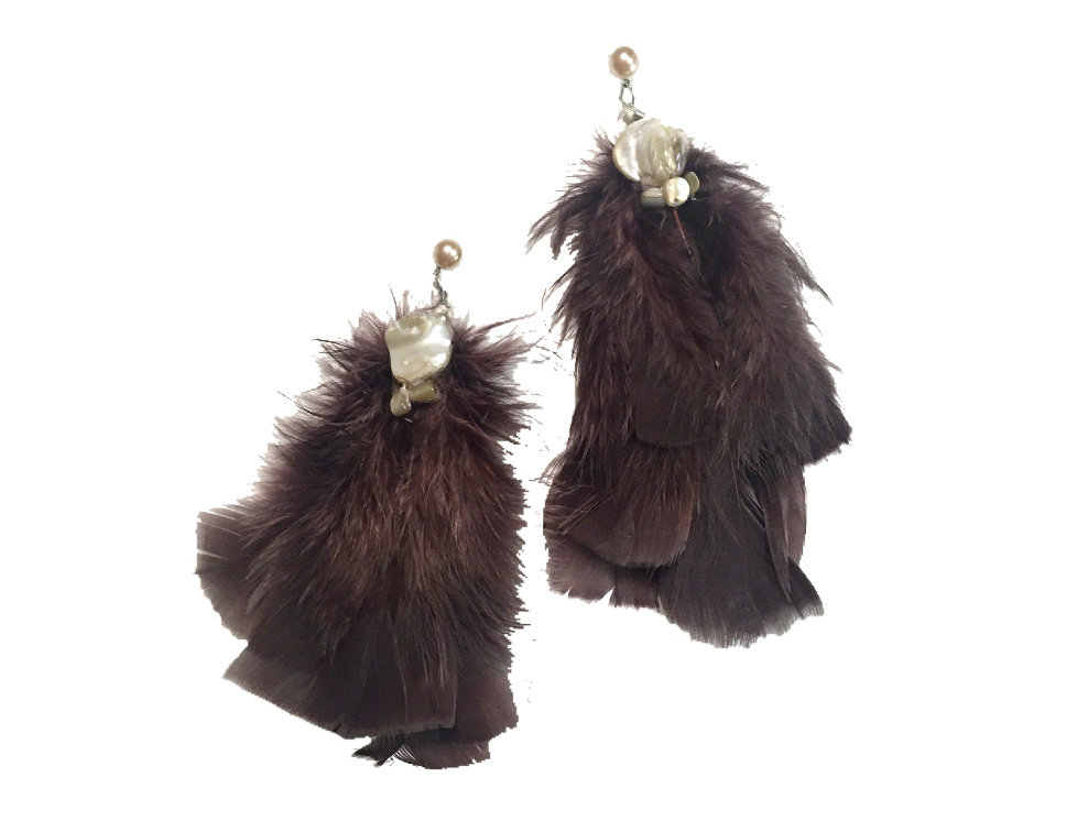 Cliff Side Stone-Embellished Feather Statement Earrings