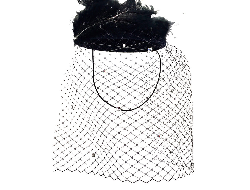 Sparkle In The Dark Feather-Embellished Netted Wool Fascinator