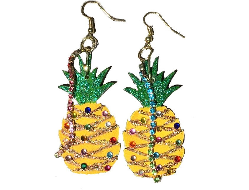 Party Pineapple Crystal-Embellished Statement Earrings