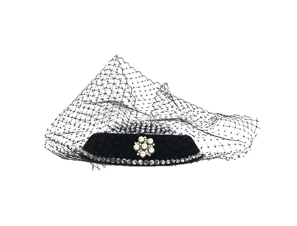 Diamond In The Night Embellished Netted Fascinator Clip
