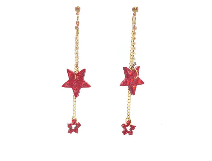 Shining Star 18K Gold-Plated Dangle Earrings