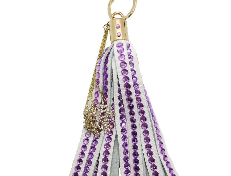 Tranquility Crystal-Embellished Large Leather Tassel Keychain