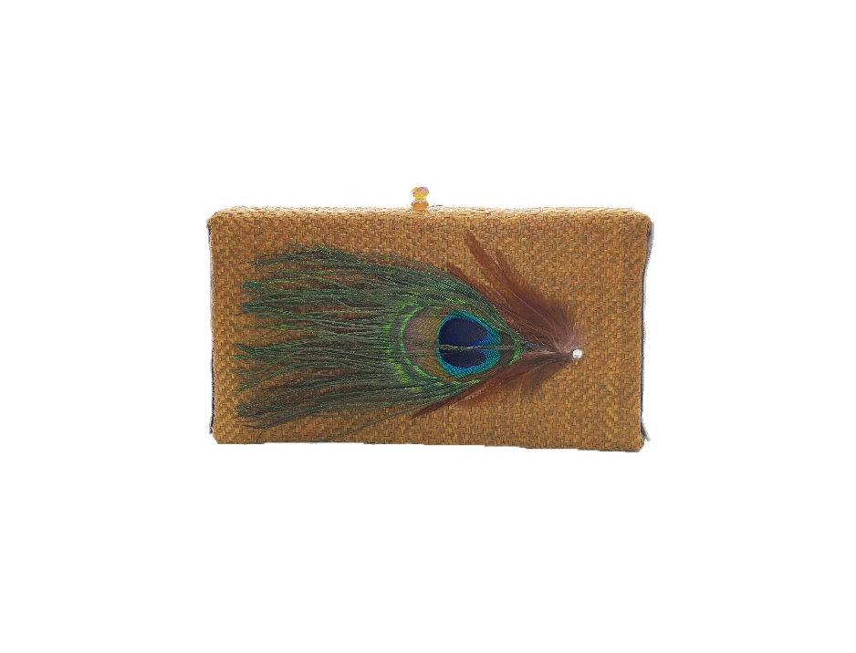 Basket Weave Feather-Appliquéd Woven Box Clutch