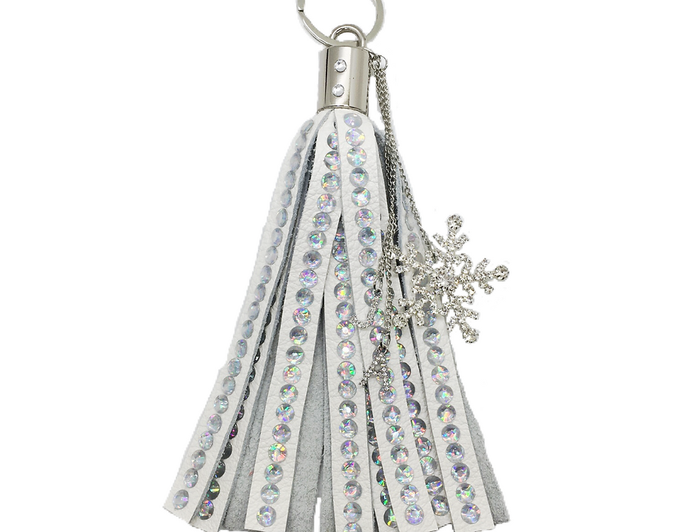 Purity Crystal-Embellished Large Leather Tassel Keychain
