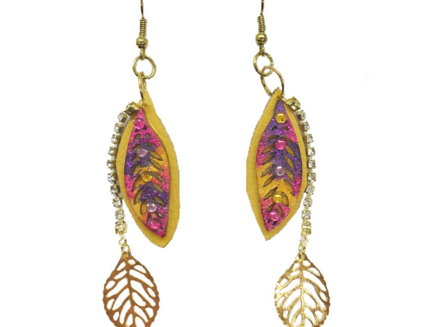 Fall Foliage Leather Crystal-Embellished Dangle Earrings