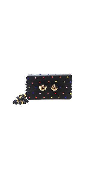 Rainbow Vision Crystal-Embellished Leather Mini Bag
