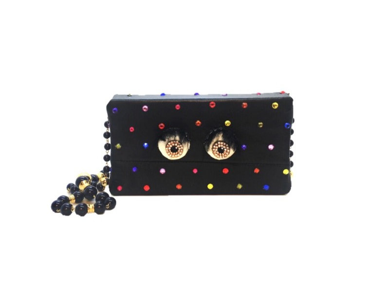 Rainbow Vision Crystal-Embellished Leather Mini Bag