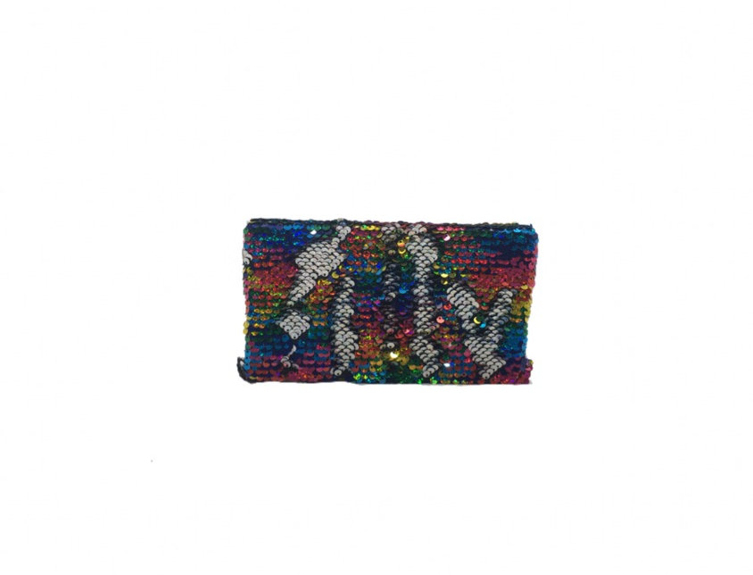Two-Faced Rainbow Sequined Box Clutch