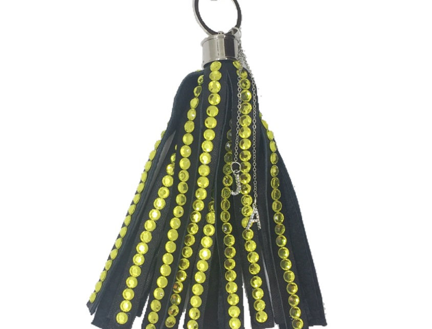 Happiness Crystal-Embellished Large Leather Tassel Keychain