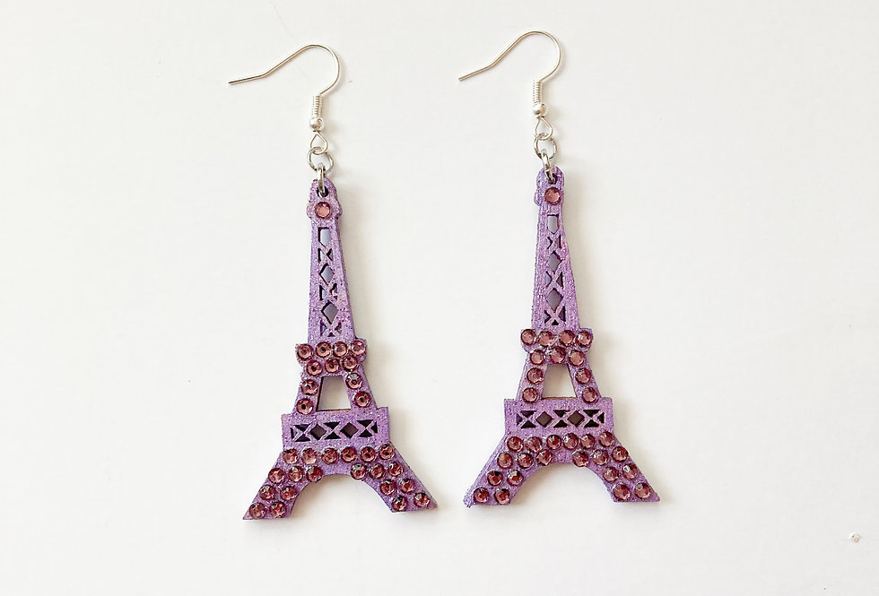 Eiffel Tower Sterling Silver Crystal-Embellish Statement Earrings