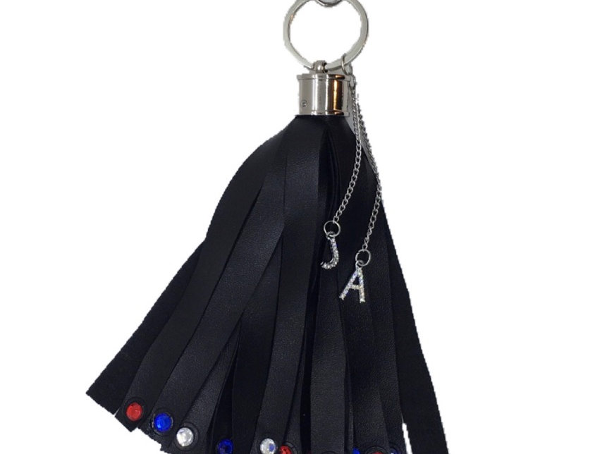 Independence Crystal-Embellished Faux-Leather Mini Tassel Keychain