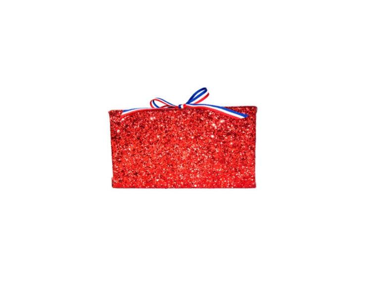 July 4th Box Ribbon-Trimmed Glittered Clutch