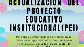 INVITACIÓN A PARTICIPAR EN LA ACTUALIZACIÓN DEL PEI INSTITUCIONAL