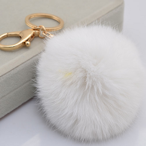 RABBIT FUR POM POM - WHITE