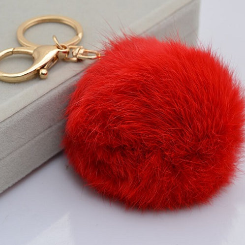 RABBIT FUR POM POM - RED