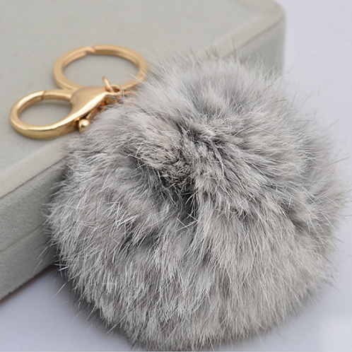 RABBIT FUR POM POM - GREY