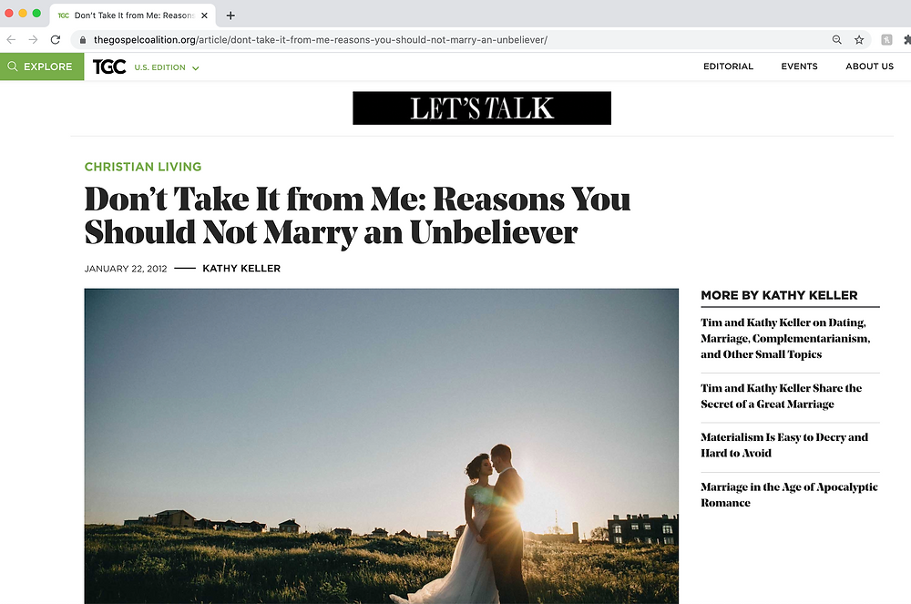 Don't Take it from Me: Reasons You Should Not Marry and Unbeliever