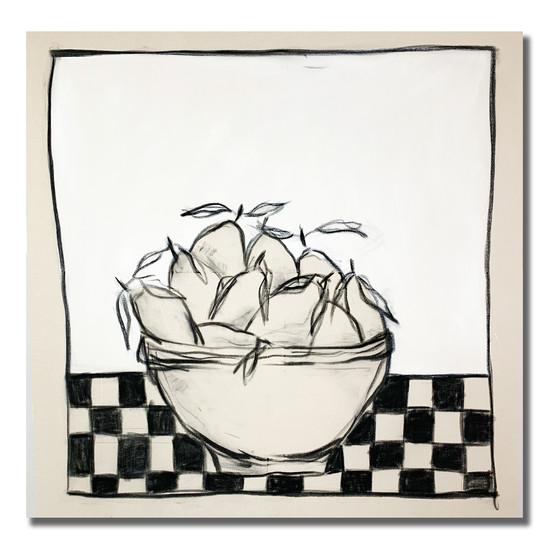 Kitchen Lemons 110 x 110 cm   Charcoal & Acrylic on Raw Canvas